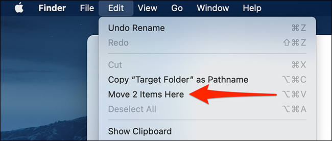 """Select """"Edit > Move Items Here"""" in the Finder menu bar."""