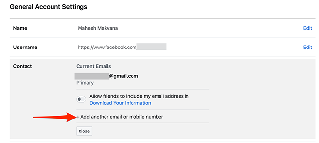 """Choose """"Add Another Email or Mobile Number"""" from the """"Contact"""" section on Facebook."""