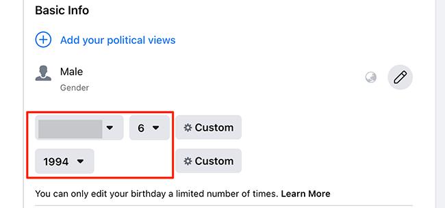 Enter new birthday details on Facebook.