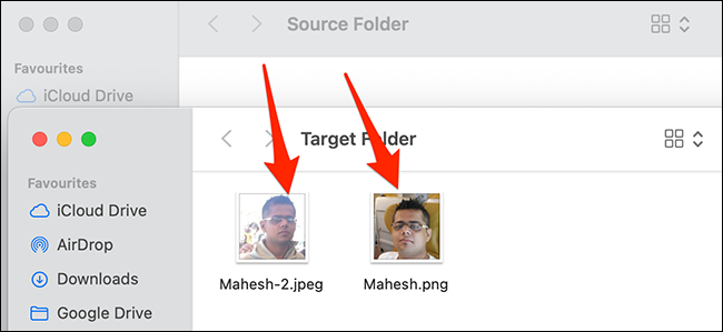 Moved items in a Finder window.
