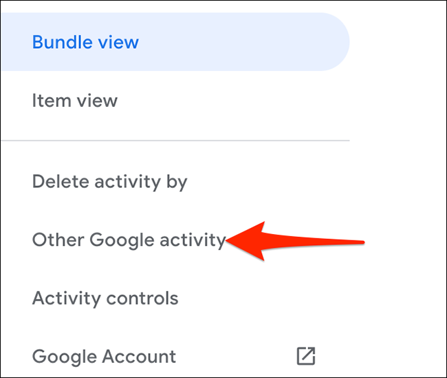 """Select """"Other Google Activity"""" on the """"My Google Activity"""" site."""