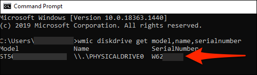 The Command Prompt window showing hard drive serial numbers.