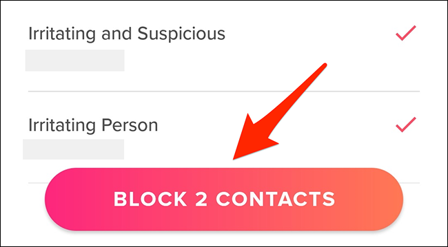 """Tap """"Block Contacts"""" in Tinder."""
