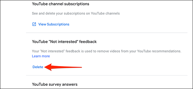 """Select """"Delete"""" in the """"YouTube Not Interested Feedback"""" section."""