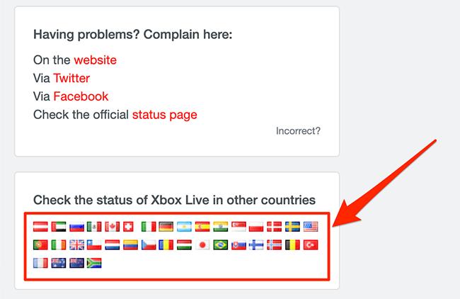 Menu trạng thái khu vực của mạng Xbox trên Downdetector.