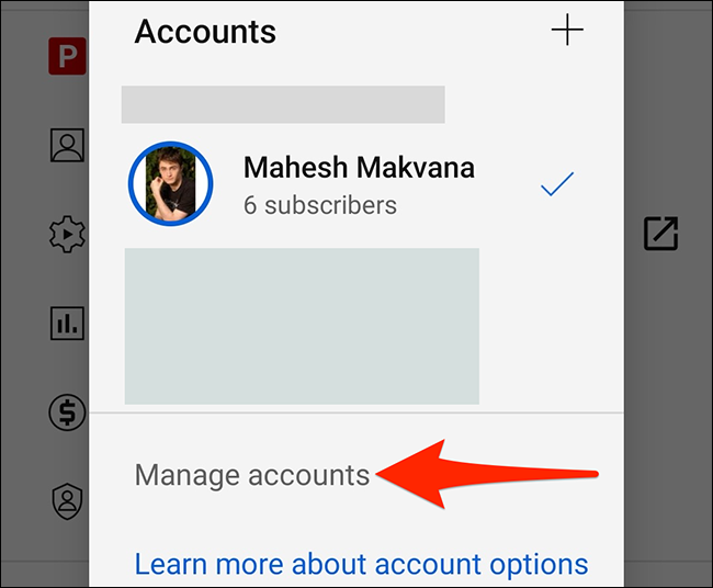 """Select """"Manage Accounts"""" on YouTube's """"Accounts"""" screen."""