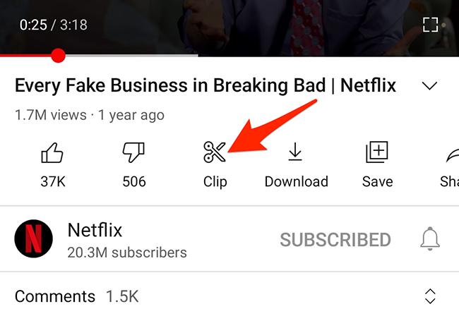 """Πατήστε """"Κλιπ"""" σε μια σελίδα βίντεο στην εφαρμογή YouTube."""
