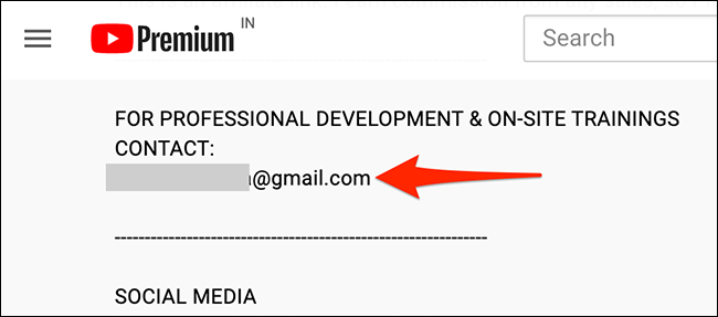 An email address listed in a YouTube video's description.