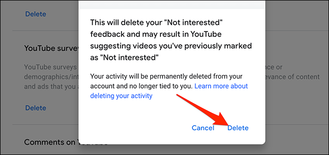 """Select """"Delete"""" in the """"YouTube Not Interested Feedback"""" prompt."""