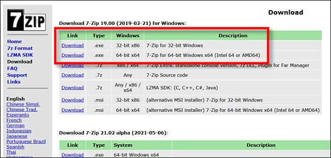 Select a recent release from the 7-Zip download page