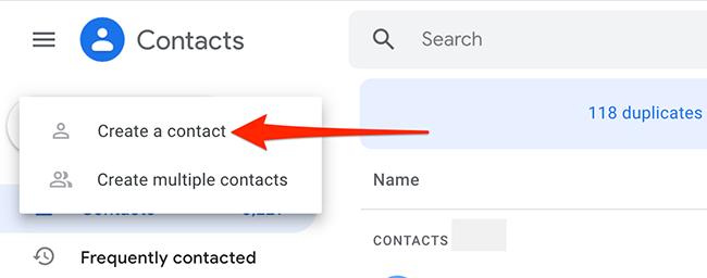 """在 Google 通讯录上选择""""创建联系人 > 创建联系人""""。"""