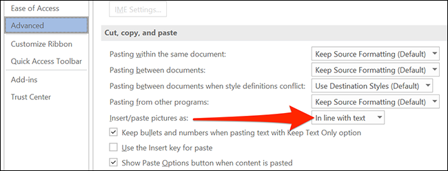 """Select """"Insert/paste pictures as"""" in Word's """"Word Options"""" window."""
