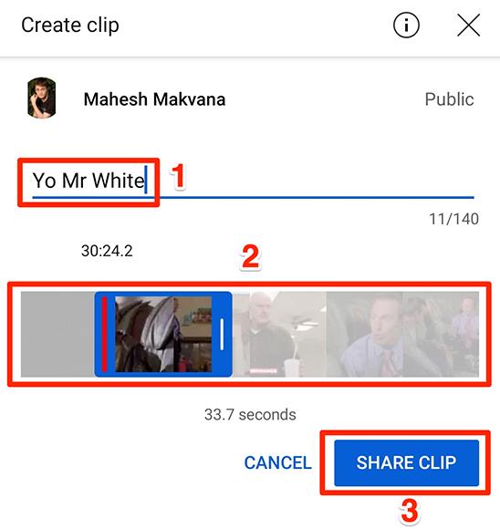 """Δημιουργήστε ένα κλιπ με τον πίνακα """"Δημιουργία κλιπ"""" στην εφαρμογή YouTube."""