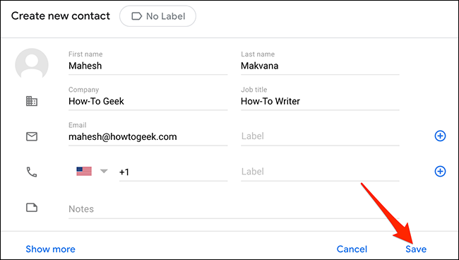 """Enter contact's details in Google Contacts' """"Create New Contact"""" window."""