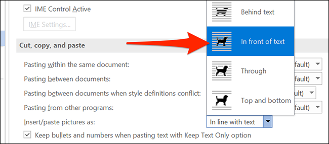 """Choose """"In front of text"""" from the """"Insert/paste pictures as"""" drop-down menu."""