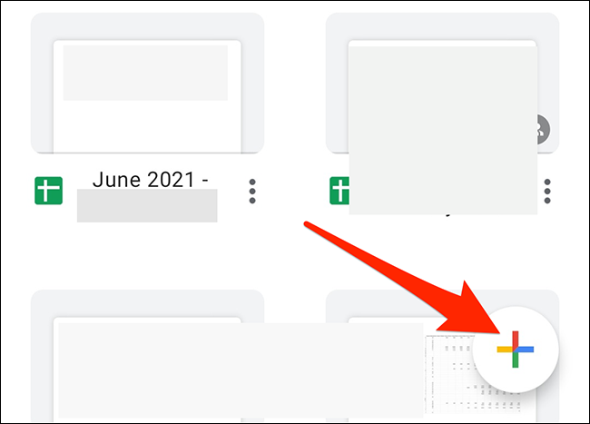"""Tap """"+"""" to create a new spreadsheet in the Google Sheets app."""