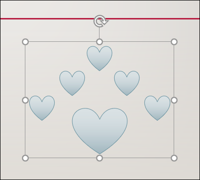 A group of heart shapes on a PowerPoint slide.
