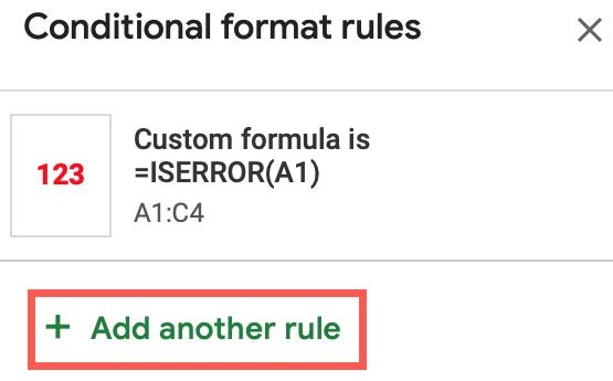Fare clic su Aggiungi un'altra regola
