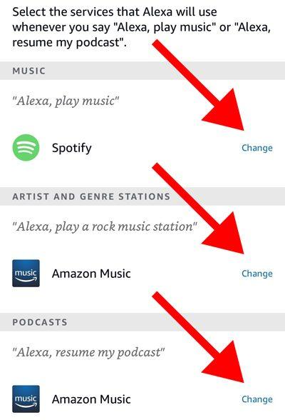 Alexa app default services for music