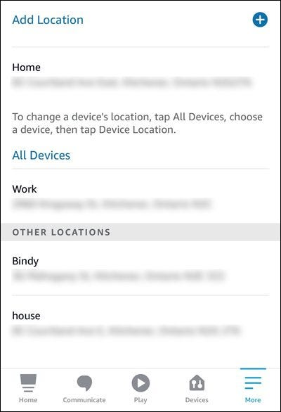 Alexa app saved addresses