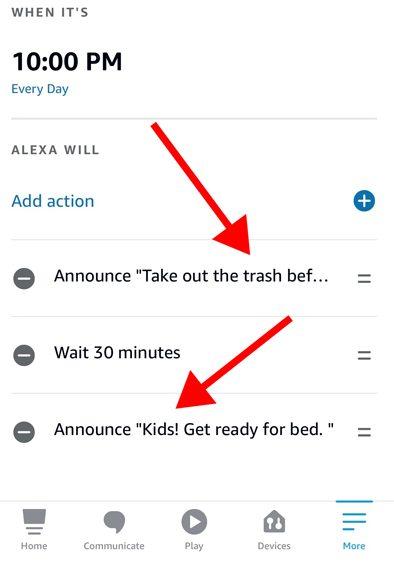 Alexa app send announcement actions
