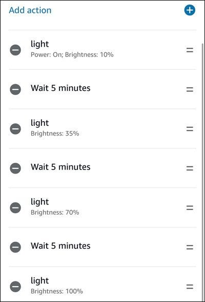 Alexa routine for morning lights