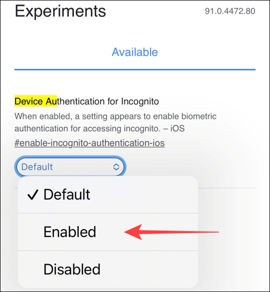 """Select the drop-down under the """"Device Authentication for Incognito"""" flag and choose """"Enabled."""""""