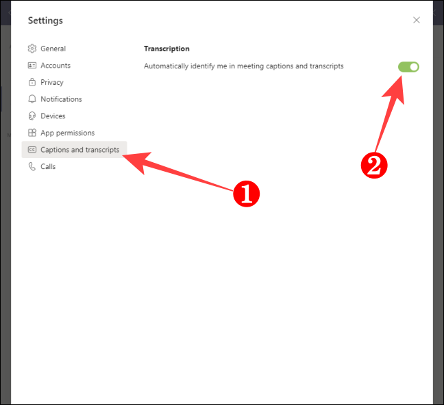 Select Captions and Transcript on the left-hand side and turn off the toggle for automatically identify on the right-hand side.