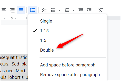 """Click """"Double"""" in the drop-down menu."""