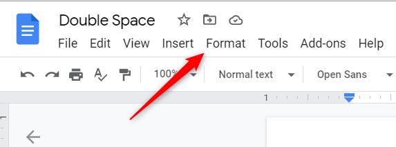 """Click """"Format"""" in the Google Docs menu bar."""