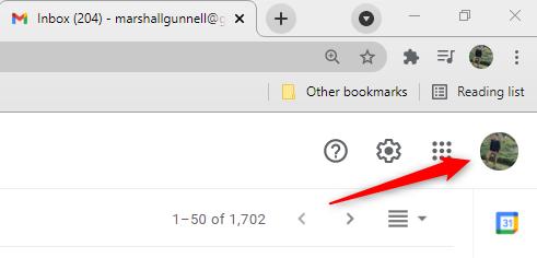"""Clique na sua """"Foto do Perfil do Google"""" no Gmail."""