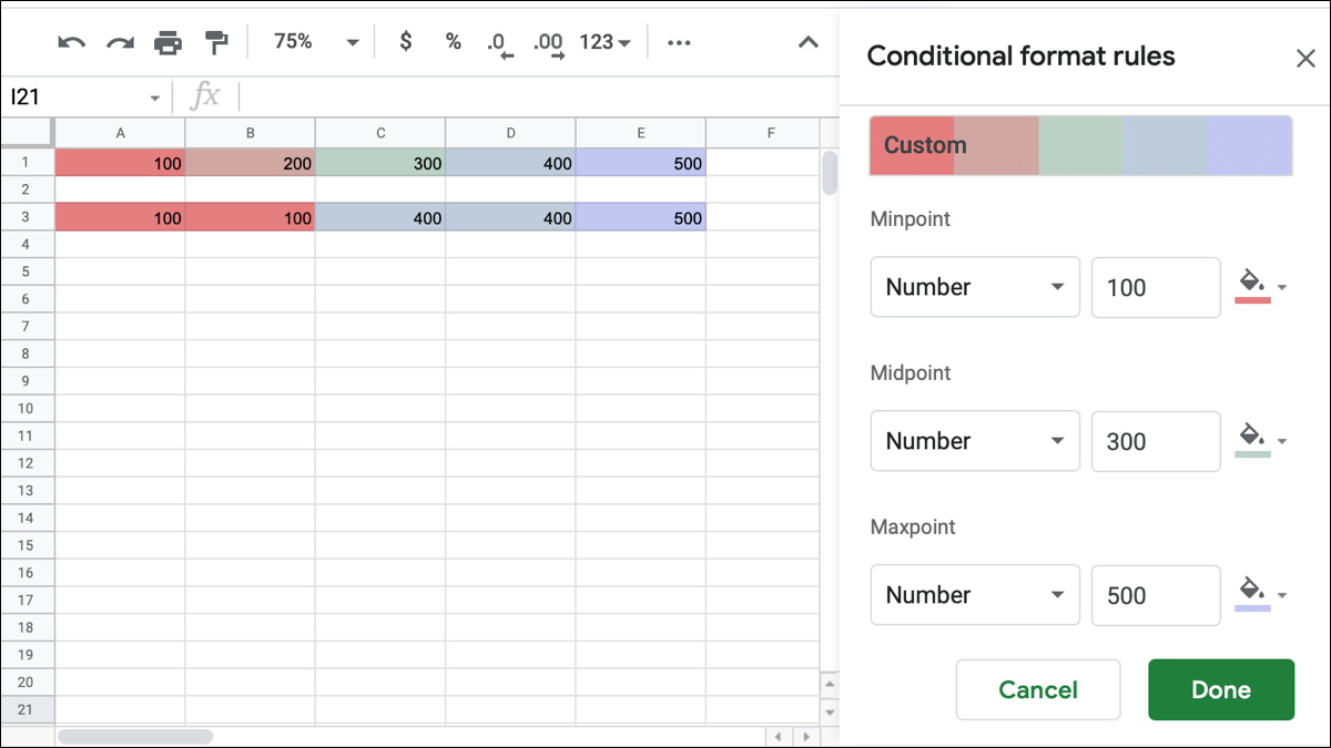Color scale conditional formatting in Google Sheets
