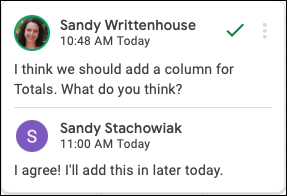 Comment with reply in Google Sheets