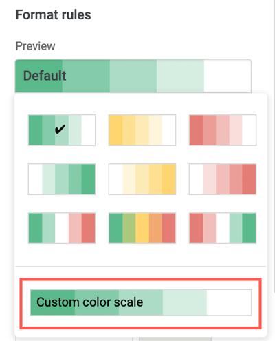 Click Custom Color Scale
