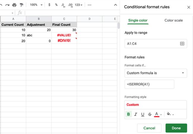 Formattazione condizionale di Fogli Google per errori