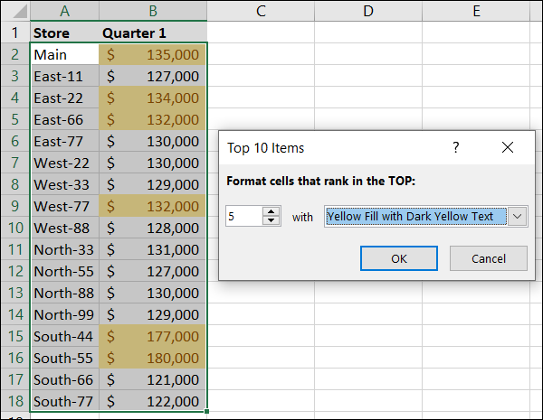 Conditional formatting top 5 items in yellow in Excel