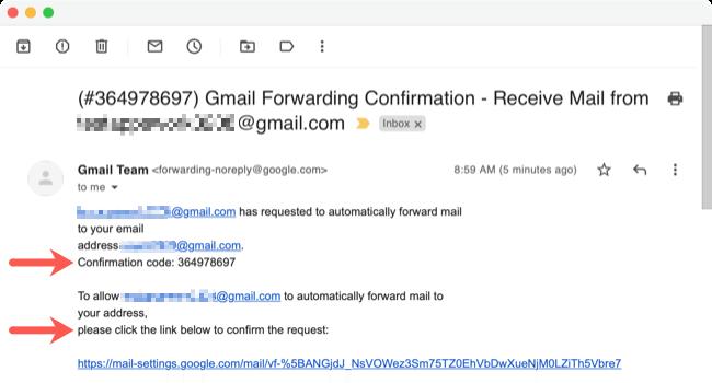 E-mail de l'équipe Gmail pour le transfert