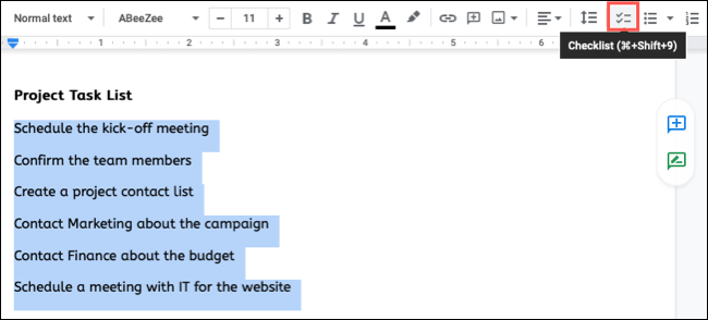 Select the text and click Checklist