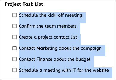 Converted checklist in Google Docs