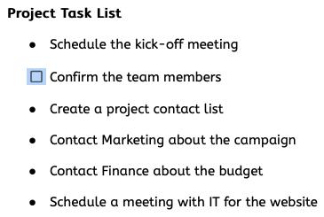 Single converted checklist item