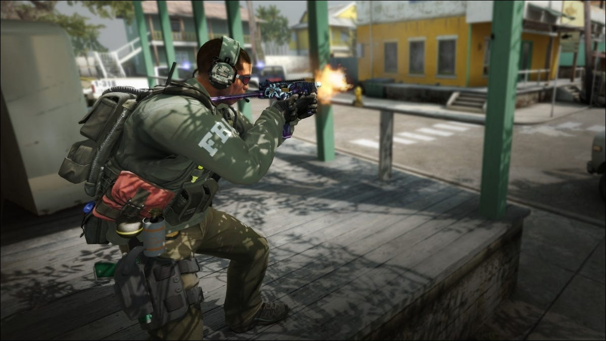Military Man Shooting Weapon Video Game