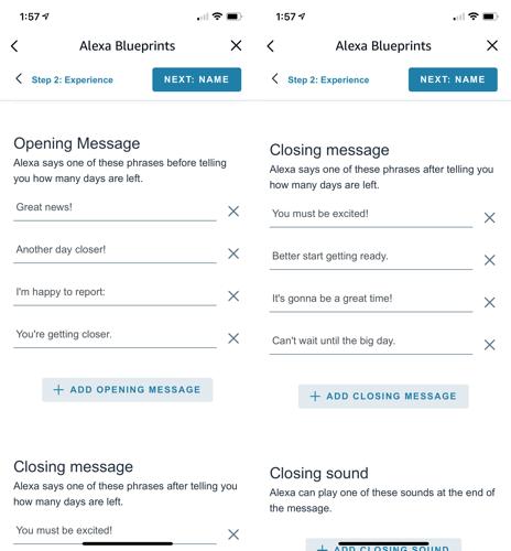 Personalizza i messaggi di apertura e chiusura di Alexa