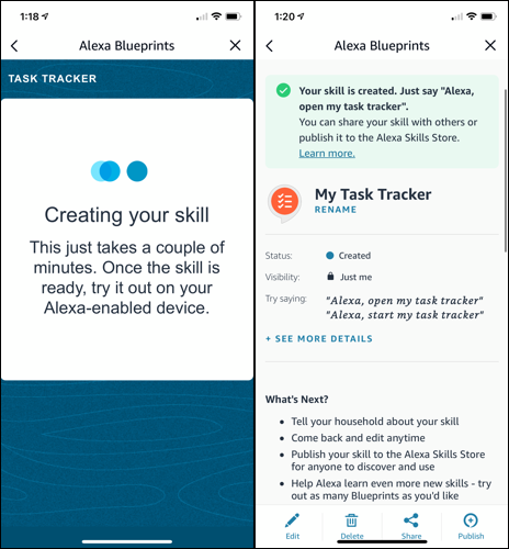 Alexa creating the Task Tracker skill and displaying details