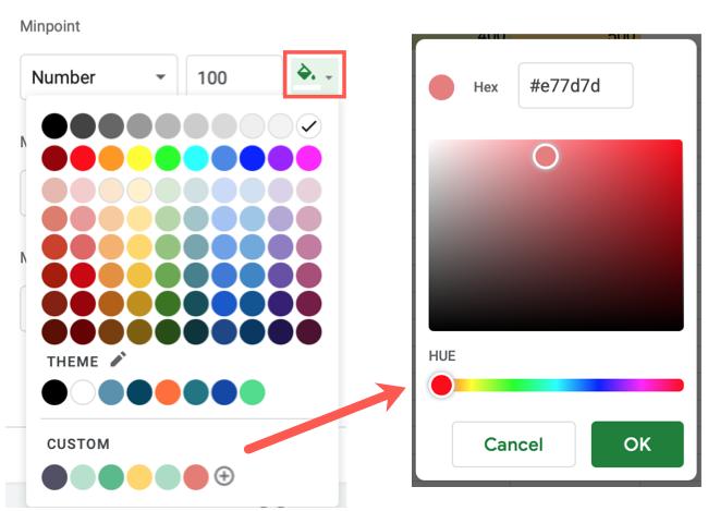 Choose a color or create a custom color