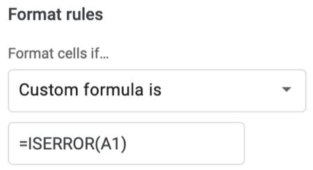 Inserisci la formula personalizzata per gli errori
