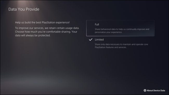 """""""Data You Provide"""" PS5 Privacy Settings"""