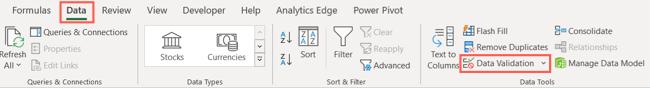 Нажмите «Проверка данных» на вкладке «Данные» в Excel.