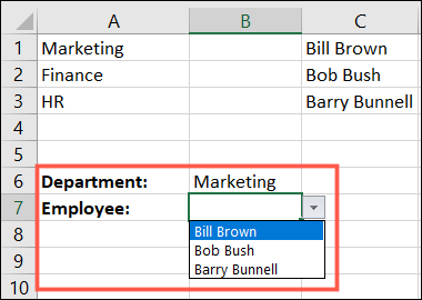 Зависимый раскрывающийся список в Excel