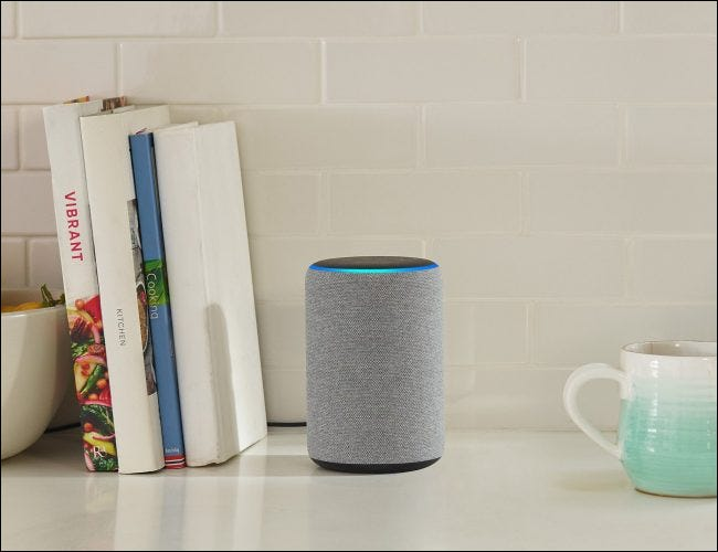 Echo Plus on counter with books and a coffee mug