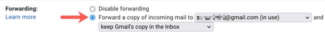 Activer le transfert vers l'adresse e-mail dans Gmail